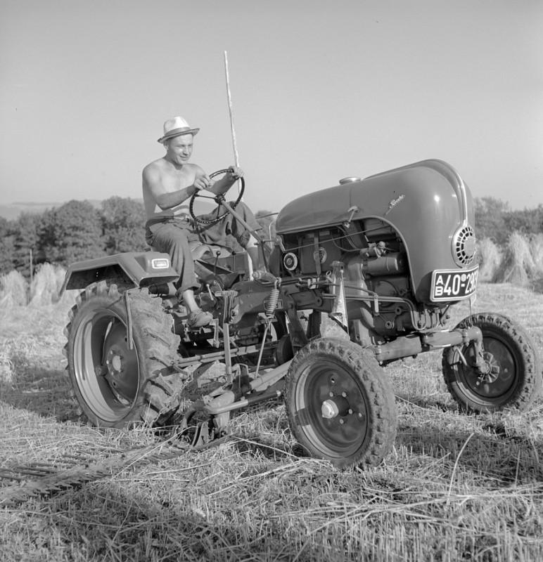 Heuernte mit Traktor, 1956